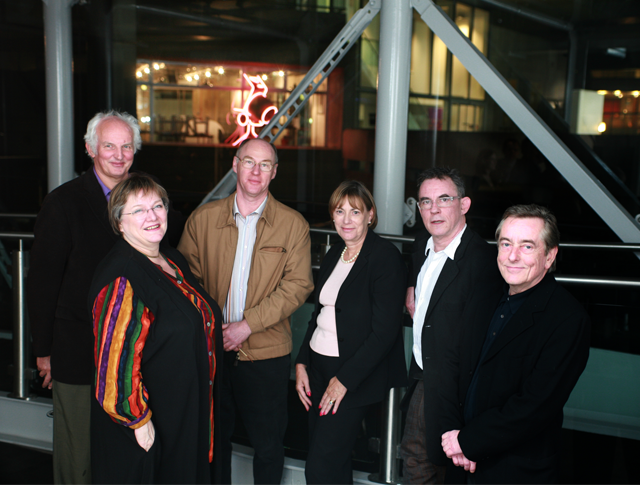 <i>CEO Suzan Dormer (centre), Chair Charles Sturridge (second from right) and other early members of the Directors UK Board</i>