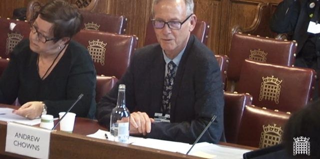 <i>Andrew Chowns speaks to the Lords Communications Committee.</i>