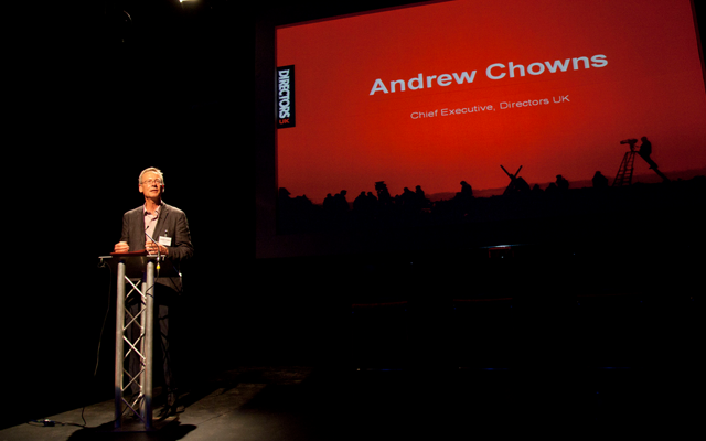 Andrew speaking at the Directors UK AGM at Riverside Studios in 2013.