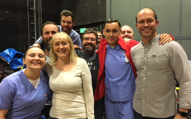 Cast and crew on the set of Casualty.